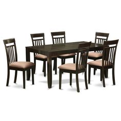 Found it at Wayfair - Lynfield 7 Piece Dining Set expresso faux leather seats $779.89