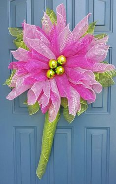 Flower Wreath, Spring wreath, deco mesh flower, year round wreath - WonderfulWreathsKim Etsy Shop.