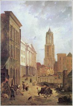Utrecht stadhuisbrug met stadhuis domtoren.