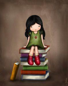 Children's Book Art Library Wall Decor Girls Illustration Girl on Books Artwork…