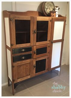 Stunning retro kitchen hutch with meat safe painted in white Chalk emulsion by Porters Paint and just black Murobond chalk Handpainted by the shabby chick