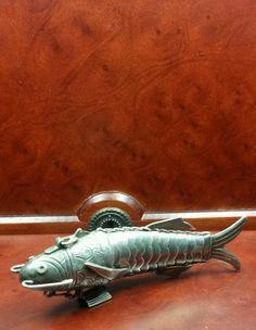 "Rare Sterling Silver Match Safe Holder Pill Box VESTA CASE Articulated Fish 5"""