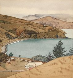 Rita Angus Wainui, Akaroa Collection of Christchurch Art Gallery Te . Ancient Names, New Zealand Landscape, New Zealand Art, Nz Art, Landscape Artwork, South Island, Rest Of The World, Public Art, Countryside