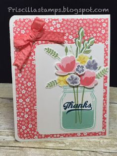 handmade thank you card from Stampin' Amigos ... die cut flowers in die cut jar ... luv the patterned paper matting ...