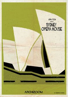 Iconic buildings have been transformed into classic movie posters by Federico Babina