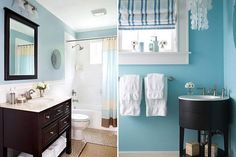 bathroom decorating with light blue and brown colors