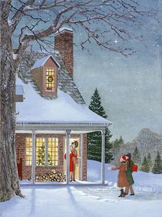Winter Scène - by Charlotte Joan Sternberg Old Time Christmas, Old Fashioned Christmas, Christmas Scenes, Christmas Past, Vintage Christmas Cards, Retro Christmas, Vintage Holiday, Christmas Pictures, Winter Christmas