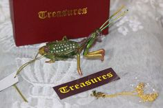 Praying Mantis Enameled Pewter Austrian Crystal Trinket Box with Tiny Necklace #Treasures