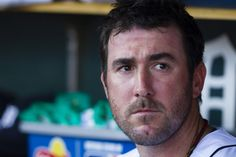 Justin Verlander in the dugout during the game Saturday May 19, 2012