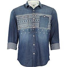 Mid wash denim aztec shirt - shirts - sale - men