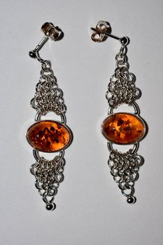 Sterling Silver Chandelier Earrings Amber Earrings Silver