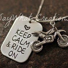 Moto Cross Keep Calm necklace
