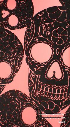 Plush Flocked Wallpaper Sugar Skulls Rose/Black Velvet | designyourwall.com