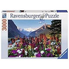 """Flowery Mountains: 3000-Piece Puzzle! Puzzle measures 48"""" x 32"""". Puzzles are fun - on your own, or with family and friends. Relax from your busy life and build a beautiful image and a new memory. Ravens burger Premium Puzzle with Softclick Technology"""
