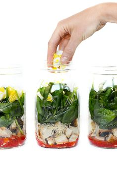 No time to make a healthy lunch? I think not! Prep the ingredients for this Spring Cobb Salad and arrange it in a mason jar for easy access during the week!