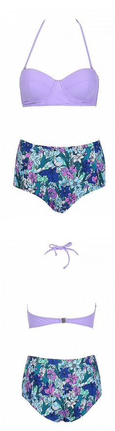 floral two-piece swimsuit set