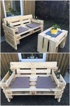 ▷ 56 + Ideas and pictures about pallet furniture terrace ▷ 56 + Ideen und Bilder zum Thema Palettenmöbel Terrasse take a look at this idea on the subject of pallet furniture terrace a wooden sofa and two purple cushions and a table made of old europallets Pallet Furniture Designs, Pallet Garden Furniture, Wooden Pallet Projects, Diy Outdoor Furniture, Pallet Crafts, Wooden Pallets, Wooden Diy, Furniture Projects, Diy Furniture