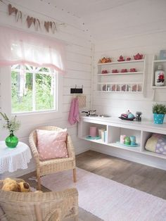 Makes space appear wider. WHY: The wall is horizontal and also on the floor is horizontal Makes space appear wider. WHY: The wall is horizontal and also on the floor is horizontal Inside Playhouse, Playhouse Decor, Playhouse Interior, Girls Playhouse, Childrens Playhouse, Backyard Playhouse, Build A Playhouse, Wooden Playhouse, Playhouse Ideas