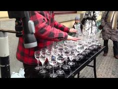 Street artist playing Hallelujah with crystal glasses// WOW just wow//