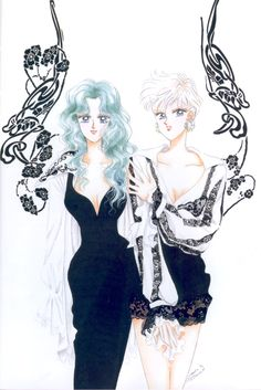 "Michiru Kaioh (Sailor Neptune) & Haruka Tenoh (Sailor Uranus) from ""Sailor Moon"" series by manga artist Naoko Takeuchi."