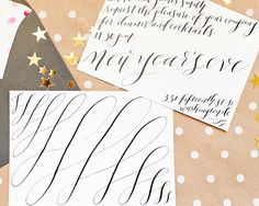 A New Year's Eve Cocktail Dinner Party with St-Germain, Invitations and Calligraphy by Meant to Be Calligraphy, Photo Credits: Nole Garey for Oh So Beautiful Paper