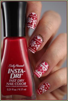 Red and white Christmas sweater nails