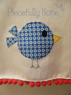 bird dish, little birds, appliqu, dish towels, hand towels