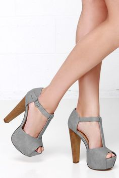 Grey T-Strap Peep Toe Platform Heels at Lulus.com!