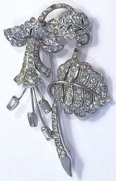 Vintage Early Signed Marcel Boucher MB 1940's Rhinestone Flower Brooch RARE | eBay