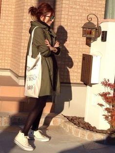 短めボトムスで女子らしさを出して。ミリタリースタイルの定番アイテム☆モッズコートの春夏ファッションコーデを集めました! Japanese Fashion, Winter Fashion, Coat, Womens Fashion, Casual, How To Wear, Inspiration, Outfits, Haircuts