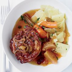 This delicious make-ahead stew features lamb necks braised in white wine and broth with onion, turnip and raisins.