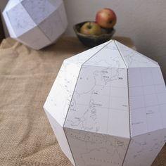 Globe terrestre en papier : patron pdf à télécharger gratuitement et à imprimer ! Chouette déco éducative.