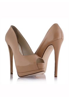 PEEPING TOM Beige leather pumps