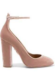 Aquazzura Alix Velvet Pumps in Blush Ankle Strap High Heels, High Heel Pumps, Pumps Heels, Velvet Shoes, Block Heel Shoes, Prom Shoes, Mary Jane Shoes, Beautiful Shoes, Me Too Shoes