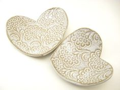 Heart Dishes Set of Two in White Lace by jennyblasenpottery, $25.00