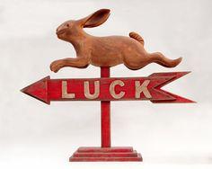 Folk Art Weather Vane Rabbit Luck by albrechtsantiques on Etsy