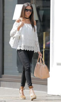 Glamorous: Actress Michelle Keegan turned on the glamour in a chic daytime ensemble as she ran errands in London recently