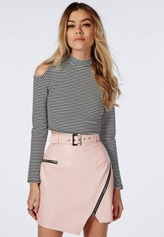 Turtle Neck Cut Out Shoulder Striped Crop Top White - Tops - Long Sleeve Tops - Missguided