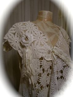 OOAK shabby boho chic clothing with romantic victorian feel. Handmade with layers of white and cream cotton crocheted doilies. Ten (10) old