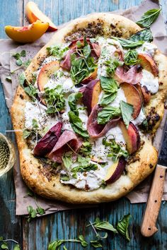 Peach burrata pizza with honey balsamic drizzle.
