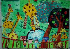 I Love Giraffes - 3rd grader. Boy. watercolors,oil pastels,paper.