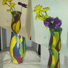 Yellow purple green & blue vase