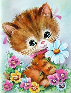 This Kitten illustration is a unique illustration by CSA Images. View our online stock illustration collection! Vintage Pictures, Vintage Images, Cute Pictures, Vintage Greeting Cards, Vintage Postcards, Vintage Clipart, Vintage Illustration, Art Mignon, Cat Cards