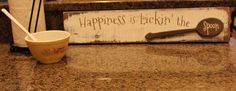 Happiness is lickin' the spoon distressed wall art