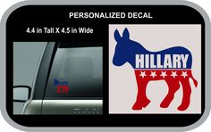 Personalized POLITICAL DECAL  HILLARY for car by Oneofakindalways