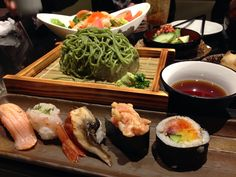 Zaru soba with sushi