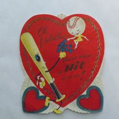 Vintage Valentine card anthropomorphic baseball and bat with glitter by KerrysBungalow, $6.00