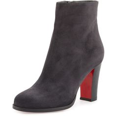 Christian Louboutin Top 70 Suede Red Sole Ankle Boot ($1,005) ❤ liked on Polyvore featuring shoes, boots, ankle booties, ankle boots, grey, gray suede booties, high heel boots, grey suede bootie and gray ankle boots