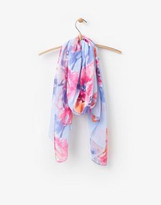 Wensley Blue Rose Woven Scarf , Size One Size | Joules UK