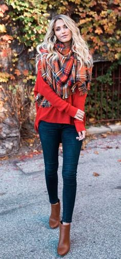 #winter #outfits brown, black, gray, and white scarf